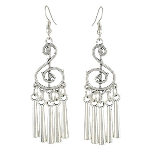 Vintage Drop Dangle Earrings Carved Flower Music Geometric Tassel Fish Hook Fringe Earring (music - Hook Fish Pics