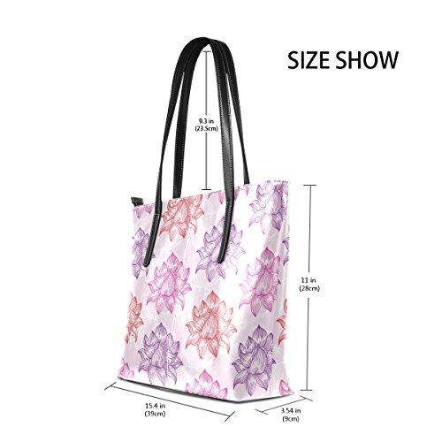 COOSUN Muster mit Lotus Flower PU Leder Schultertasche Handtasche und Handtaschen Tote Bag für Frauen