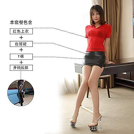 WXNLEAI Lencería sexy para mujer secretaria OL tentación uniforme ...