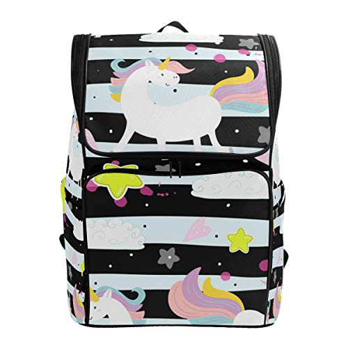 Canvas Backpack Cute Unicorn Stars Strips Large Capacity School Daypack Bookbag Laptop Backpack