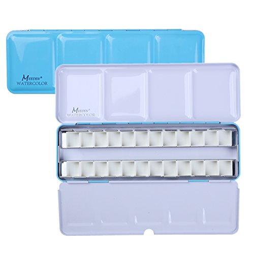 Watercolor Pocket Box - MEEDEN Empty Watercolor Tins Box Palette Paint Case, Medium Blue Tin with 24 Pcs Half Pans