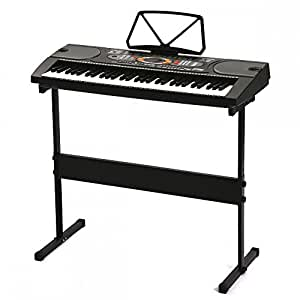 black 61 key full size electronic music keyboard piano organ with stand musical. Black Bedroom Furniture Sets. Home Design Ideas