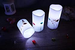 "Adoria White Flameless Led candle-Real Wax Battery Candle-Remote Timer Pillar Candle-Natrual Dry Flower InlayedTall 4"",5"",6"", Set of 3"