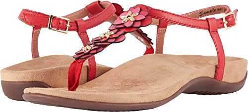 Vionic Womens Paulie T-Strap Sandal, Red, Size 6