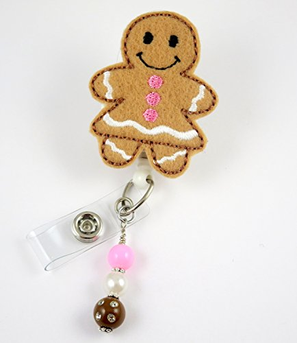 Christmas Gingerbread Girl - Nurse Badge Reel - Retractable ID Badge Holder - Nurse Badge - Badge Clip - Badge Reels - Pediatric - RN - Name Badge Holder