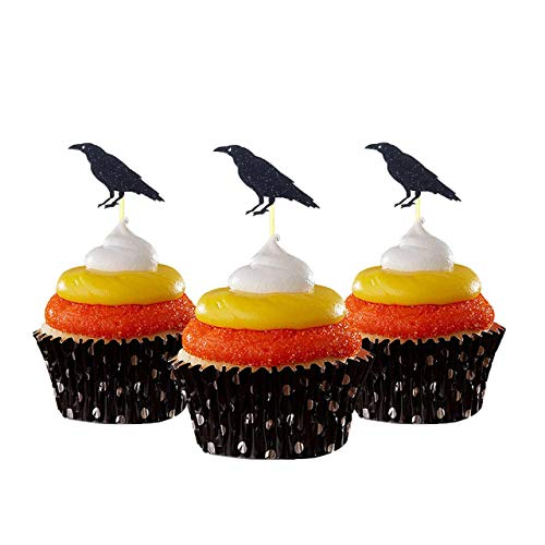 crow Halloween Cupcake Topper 12 pieces per Pack Decoration Cake glitter Card Stock Black