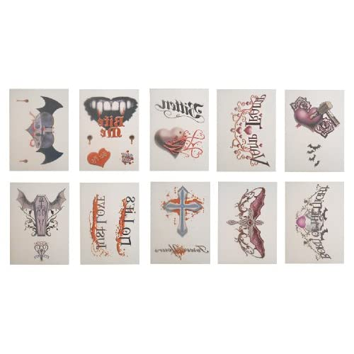 Discount 10 Larger Vampire Theme Temporary Tattoos - Set of 10 Tats