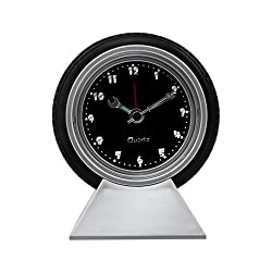 StealStreet SS-KD-618 Tire Desk Clock Accurate Quartz, 14, Silver/Black