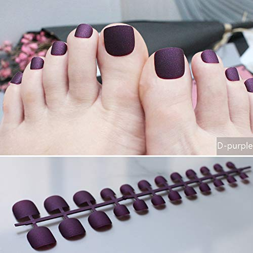 Brown Matte Fake Toenails Black Toes Simple Short Nude Color Solid Color Modern Soft Scrub Naturally Realistic Dark-purple for $<!--$14.44-->