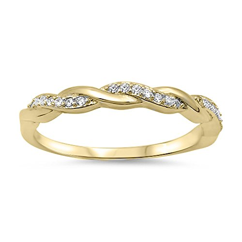 Gold-Tone White CZ Wedding Ring .925 Sterling Silver Stackable Band Size 9