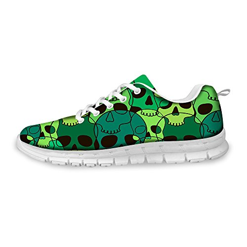 FOR U DESIGNS Cool Skull Print Womens Breathable Light Weight Lace Up Fashion Sneakers Comfortable Running Shoes