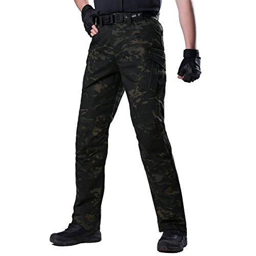 FREE SOLDIER Men's Camo Cargo Pants with Zipper Pocket Water Resistant BDU Gear Army Tactical Pants(Dark Camouflage 32W/30L)