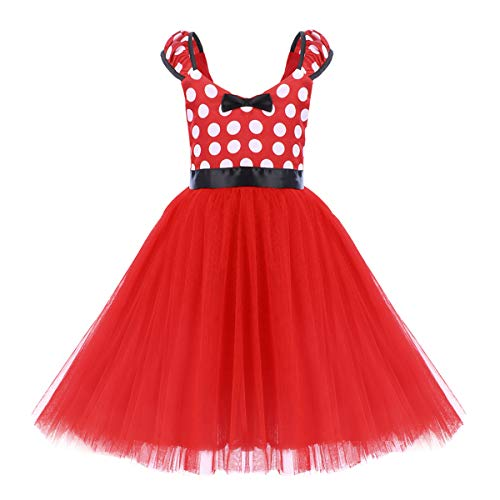 Kids Minnie Costume Baby Girl Tutu Skirt Mouse Polka Dot First Birthday Christmas Fancy Dress Up Princess Pageant Clothes C Red Long Dress Without 3D Ears 5-6