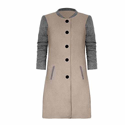 Cashmere Quilted Coat - iYBUIA Fall Womens Print Casual Patchwork Long Sleeve Cardigan Jacket Lady Coat Jumper Knitwear(Gray,L)