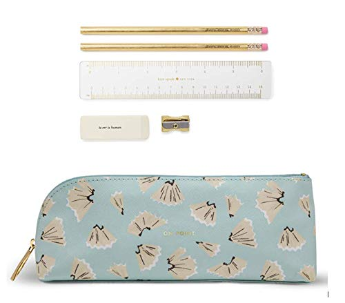 - Kate Spade New York Pencil Case Including 2 Pencils, Sharpener, Eraser, and Ruler School Supplies (On Point)