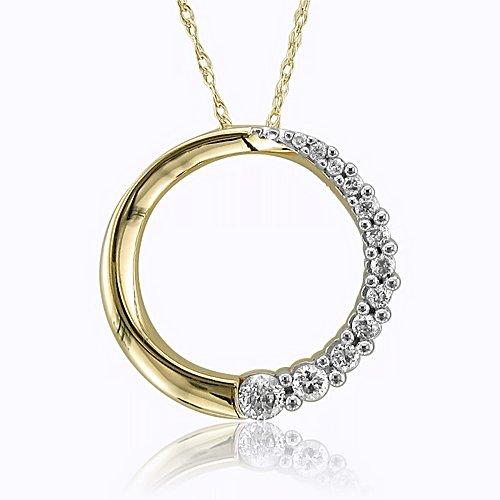 10k Yellow Gold Journey Circle Diamond Pendant Necklace (HI,I1,0.25carat)