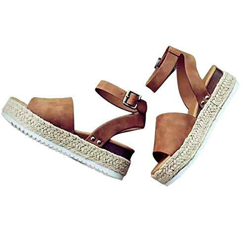 0d5095b93c4 Feng Womens Wedges Sandals Open Toe PU Ankle Strap Studded Platform Sandals  Brown