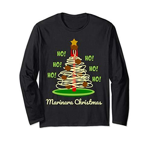 Marinara Christmas Spaghetti and Meatballs Festive Holiday Tree Long Sleeve T-Shirt