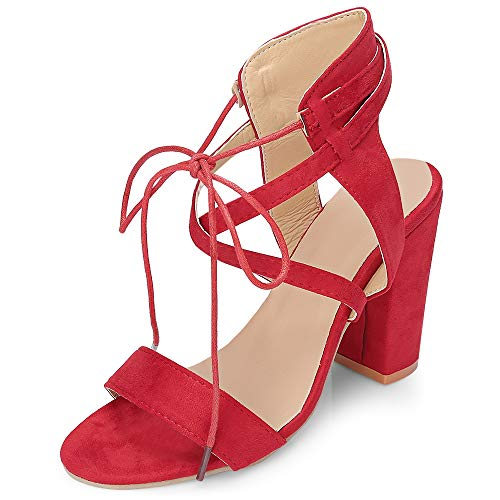 KCatsy Open-Toe Lace-up Angle Strap Chunky Heel Mules Shoes Sandals Club Women Red (Womens Bongo Sandals)