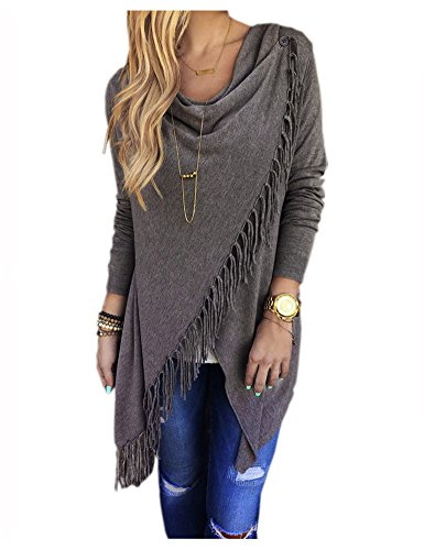 CutyKids Women's One Button Open Front Poncho Wraps Cardigan Sweater Dark Gray M