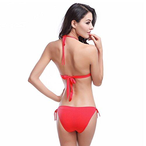 UDreamTime 11 colores de las Femenino del bikiní del traje de baño ropa de playa Rojo