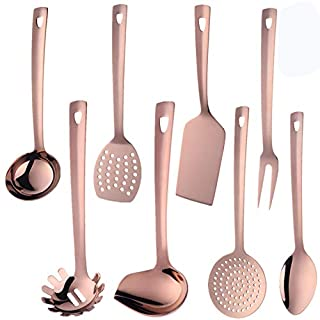 QIBOORUN Stainless Steel Kitchen Utensil Set -8 Cooking Utensils, Colorful Titanium Plated Set Kitchen Tools Gadgets Cake Shovels/Plain Spatula, Potato Masher, Spoon, Slotted Spoon-Rose Gold