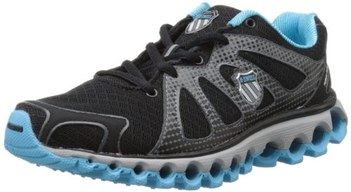 K-Swiss Women's Tubes Run 130 Running Shoe,Black/Fiji Blue,6 M US (K Swiss Womens Tubes Run 100 Athletic Shoe)