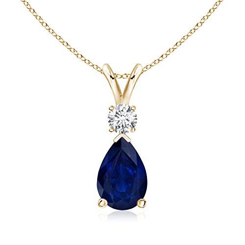 Diamond Blue Sapphire Teardrop Pendant - 6