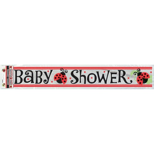 12ft Foil Ladybug Baby Shower Banner ()