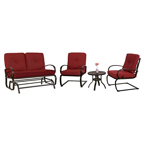 Cloud Mountain 4 Piece Metal Conversation Set Cushioned Outdoor Furniture Garden Patio Wrought Iron Conversation Set Coffee Table Loveseat Sofa 2 Chairs, Brick Red Review