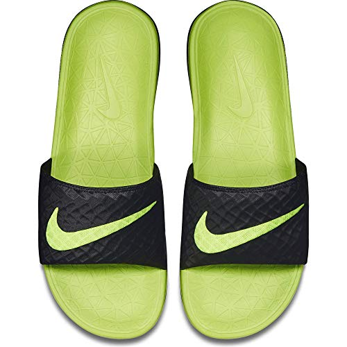 Nike Men's Benassi Solarsoft Slide Athletic Sandal, Black/Volt, 11 D(M) US