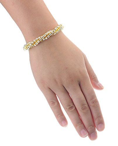 Triple Entwined Strand Evening Gala Prom Bridal Stretch Bracelet - Clear/Gold-Tone