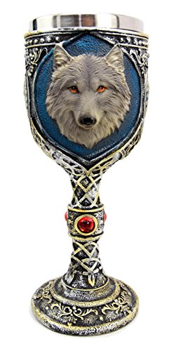 Atlantic Collectibles Alpha Gray Wolf Celtic Magic 7oz Wine Chalice Goblet Cup by Ebros Gift