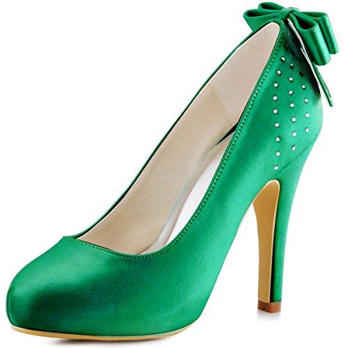 ElegantPark EP11034-IP Mujer Tacón de Aguja la Plataforma Rhinestone Arco Nudo Satén Zapatos de Fiesta Boda Verde