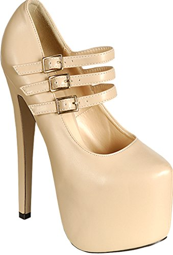 Lolli Couture FAUX LEATHER TRIPLE BUCKLE STRAP ALMOND TOE PLATFORM HIGH HEELS 9 nude