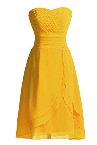 Chiffon vestito da damigella sera corte con Sweetheart linea da d'onore abito Sunvary Cocktail della Oro pieghettato Xw4qFgI