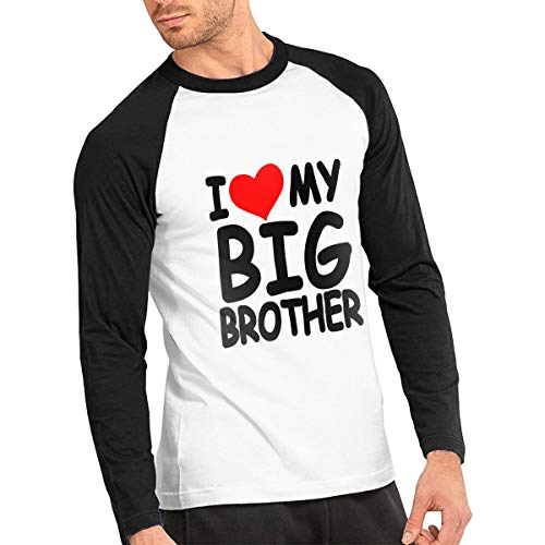 (I Love My Big Brother Men's Cotton Crewneck Long-Sleeve Baseball Tshirt Jersey)