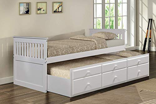 Rhomtree Storage Twin Daybed with Trundle and 3 Storage Drawers Platform Bed Frame with Headboard Footboard Kids Bed (White)