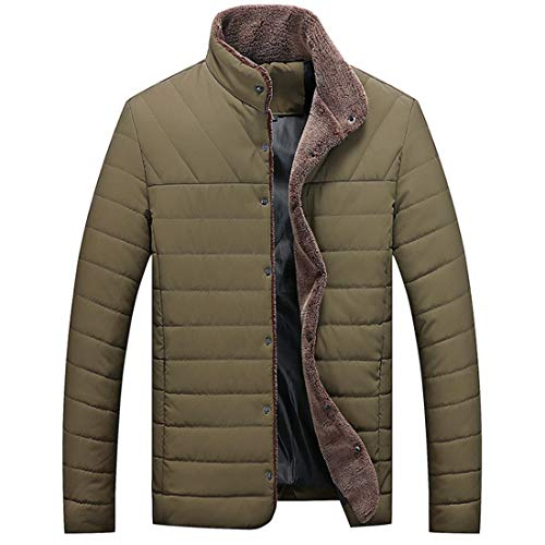 Man Warm Zipper Youth Casual Men's Outwear Pocket Teenager Coat Soft Windproof Fashion Fashion Winter Green Long Thickening Inlefen Jacket with Cotton Sleeve qX4xTUnnw