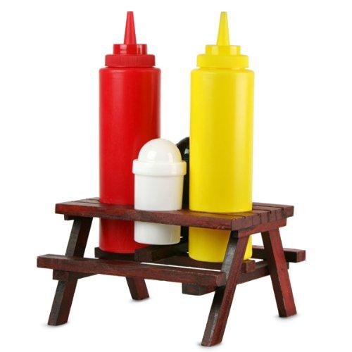 Modello Tavolo da Picknick con Ombrellone Saliera Bottiglietta per Senape e Ketchup Pepiera Out of the blue 71//2855 Portaspezie