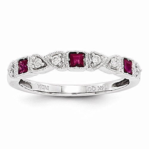 JewelrySuperMart Collection 14k White Gold 1/10 CT Diamond & .15 CT Princess Cut Ruby Ring ()