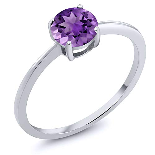 Gem Stone King 10K White Gold 1.00 Ct Round Purple Amethyst Solitaire Engagement Ring (Size 8) 1 Ct Amethyst Solitaire
