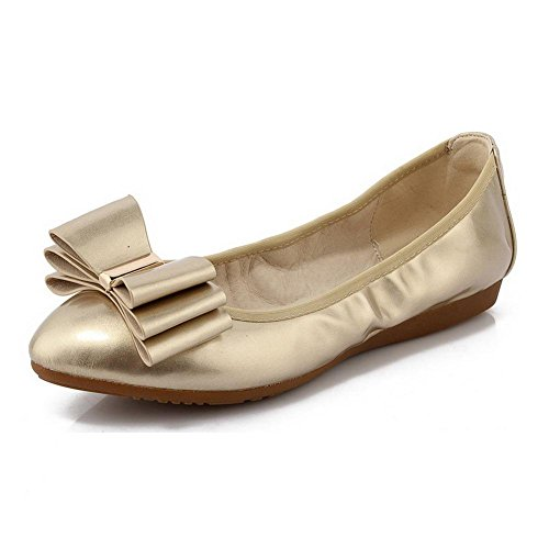 Gold Low Pumps Heels Pull Bows Toe on PU Women's Pointed Closed with Solid WeiPoot Shoes wqfH6txH