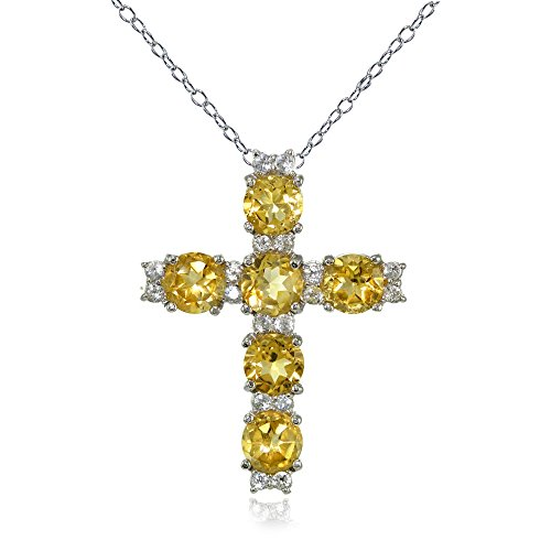 Lovve Sterling Silver Citrine and White Topaz Cross Necklace
