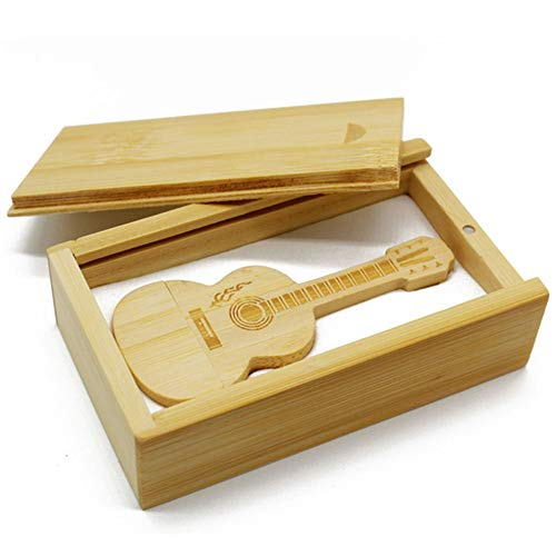 Mouchao Mini Bamboo Wood Flash Drive Guitar Shaped USB2.0 Pen Drive with Drawer Box Wood Color 8G