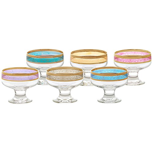 - Lorren Home Trends 9441 Pedestal Melania Collection Bowls, Set of 6, Multicolored