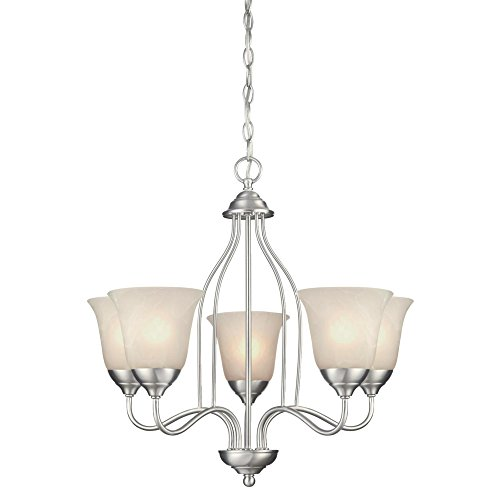 Westinghouse Lighting 6226800 Clinton Five-Light Interior Chandelier, 23 x 23 x 22.13 , Satin Nickel Finish with White Alabaster Glass