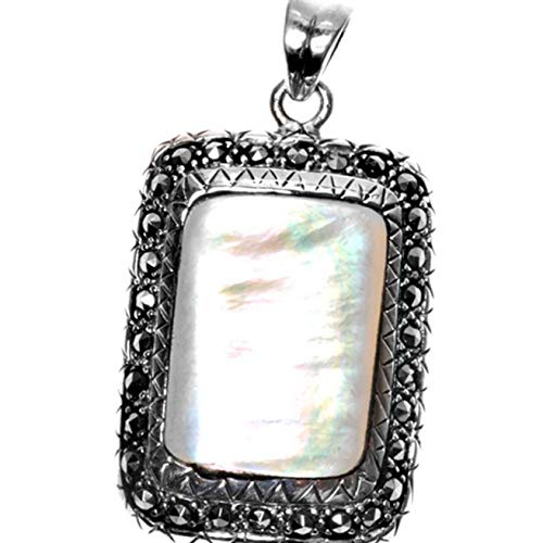 (Pendant Simulated Mother of Pearl Simulated Marcasite .925 Sterling Silver Charm Vintage Crafting Pendant Jewelry Making Supplies - DIY for Necklace Bracelet Accessories by CharmingSS)