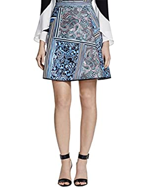 Womens Printed Leather Trim A-Line Skirt