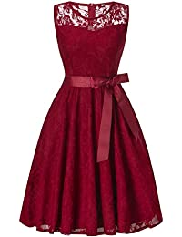 Women Dress, Fit and Flare Cocktail Party A Line Swing Dress with Belt (Red S)